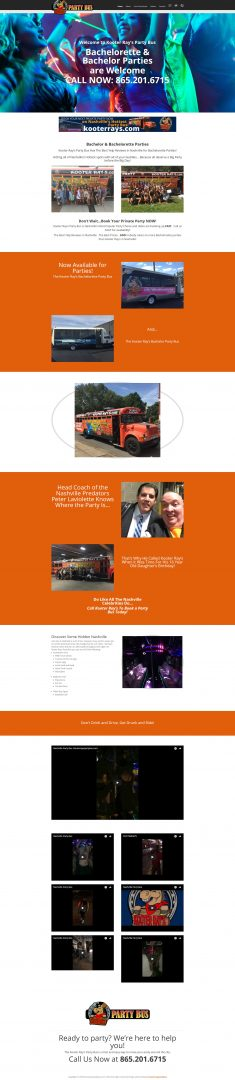 Web Design for Kooter Ray's Party Bus